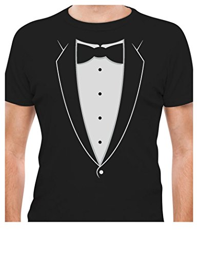 TeeStars - Printed Tuxedo With Bowtie Suit Funny T-Shirt XX-Large (Funny Tuxedo)