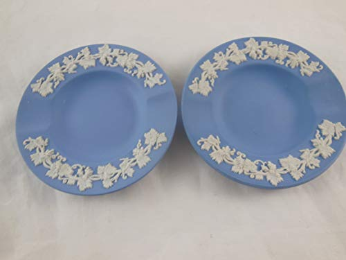 Wedgwood Set of 2 Vintage Queensware Ashtrays Blue with Cream Embossed Edge Made in - Vintage Wedgwood