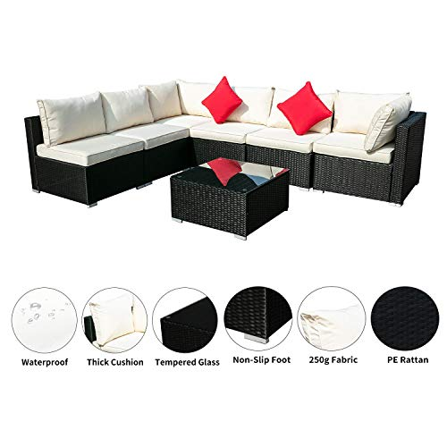 OVASTLKUY Outdoor Patio Rattan Wicker Sofa Sectional Furniture Set Patio Furniture (White 7pc)