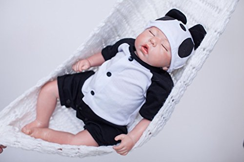 Reborn Baby Dolls Boy Silicone Newborn Eyes Closed Sleeping 20 inch Panda Black and White (Musical Real Doll)
