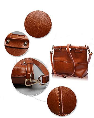 Grande Cuir bandoulière Noir 26 bandoulière Couleur capacité à pour Pratique 21 en Vintage à Noir Dames 13cm Sac Main Sac à Sac xqR67q8a
