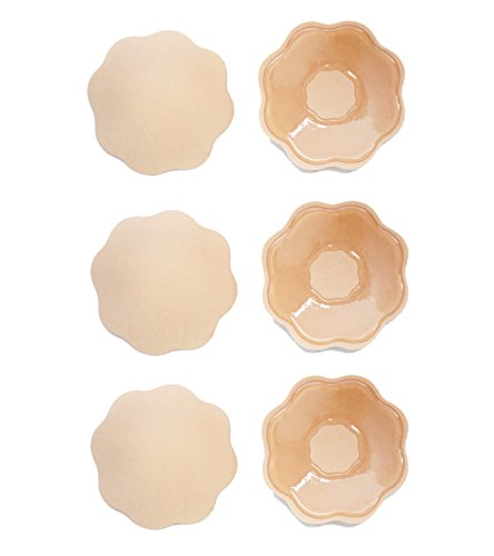 Pack 3 Pairs Reusable Silicone Nipple Cover Breast Petal (nude-flower-shape)