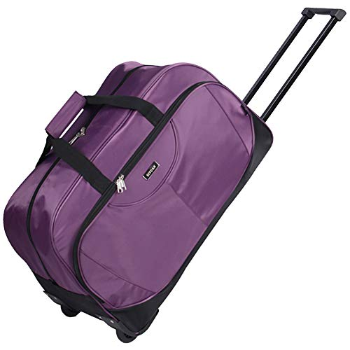 SIYUAN Luggage Trolley Case Water Resistant Travel Rolling Duffel on Wheels Airline Rolling Suitcase Purple Large ()