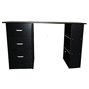 Redstone Computer Desk 3 Drawers 3 Shelves (Black)