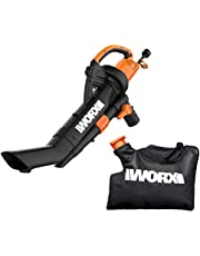WORX WG509 TRIVAC 12 Amp 3-in-One Blower/Mulcher/Vacuum with Metal Impeller, and Collection Bag –