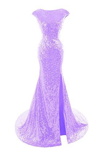 Women's Lilac Dresses Evening Bess Cap Sleeve Sequins Mermaid Gown Bridal Prom Cnq7g6