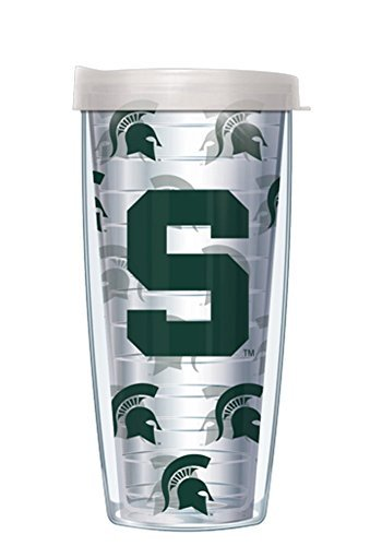Michigan State Repeat Logo Clear Wrap Traveler 16 Oz Tumbler Mug with Clear ()