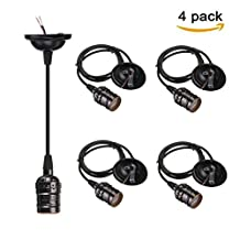 CTKcom E26/E27 Socket Screw Bulbs(4 Pack)- Edison Retro Pendant Lamp Holder With Wire For Lamp Socket And Fixture Replacement Vintage Industrial Style DIY Projects 110-220V (Black)
