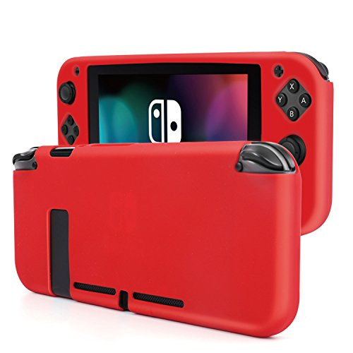 Protective Anti Slip Cover (TNP Nintendo Switch Joy-Con Grip Gel Guards with Thumb Caps - Protective Anti-Slip Ergonomic Comfort Controller Grip Case Cover Skin Silicon for Joy Con Left & Right Accessories (Neon Red))