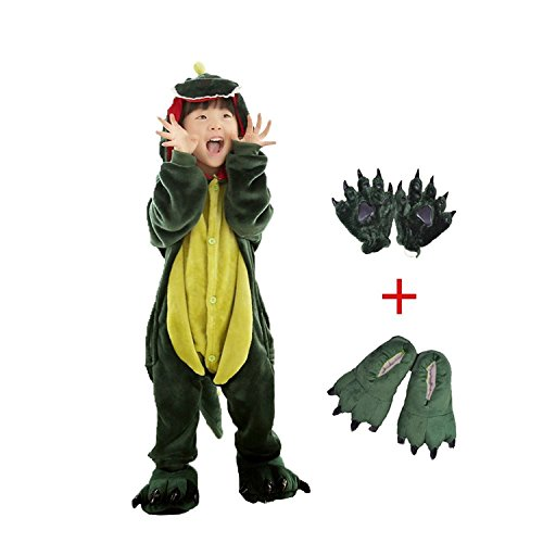 DREAMOWL Kids Dinosaur Animal Costume-Childrens Plush Pajamas Attach Shoes Paw (8T-10T)