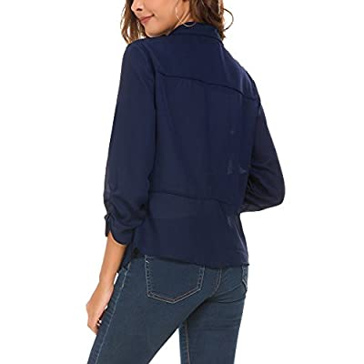 Women's Ruched Sleeve Lightweight Thin Chiffon Blazer at Women's Clothing store