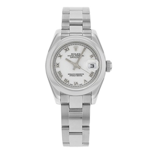 Rolex Ladys New Style Heavy Band Stainless Steel Datejust Model 179160 Oyster Band Steel Smooth Bezel Bezel White Roman Dial
