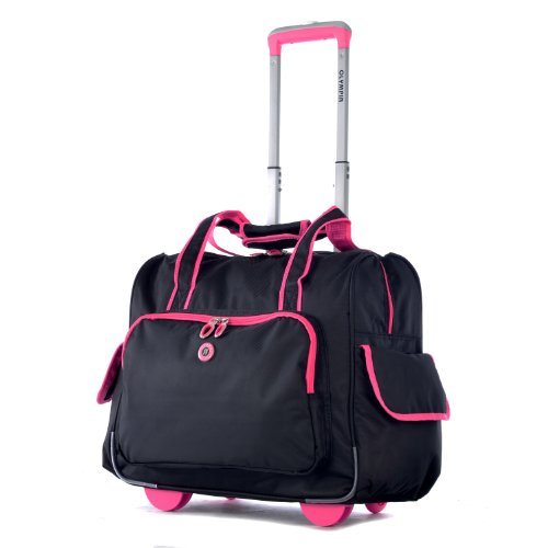 Olympia Deluxe Fashion Rolling Overnighter, Black/Pink, One Size