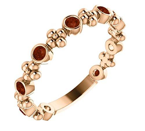 Genuine Mozambique Garnet Beaded Ring, 14k Rose Gold, Size 7 ()