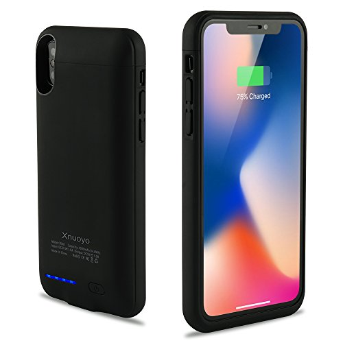 Xnuoyo Battery Charger Case 4000mAh Portable Slim Rechargeable Cover Backup Extended Protective Charger Battery Case for iPhone X (5.8-inch) Black