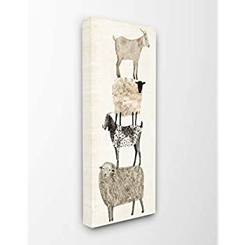 The Stupell Home Décor Collection Fun Stacked Sheep and Goats Farm Animals Stretched Canvas Wall Art, 10 x 24, Multi-Color