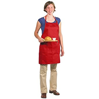 Chef Revival 601BAO-3 Poly Cotton Gourmet Professional Full Length Bib Apron with 3 Compartment Pocket, 30 by 28-Inch, Red