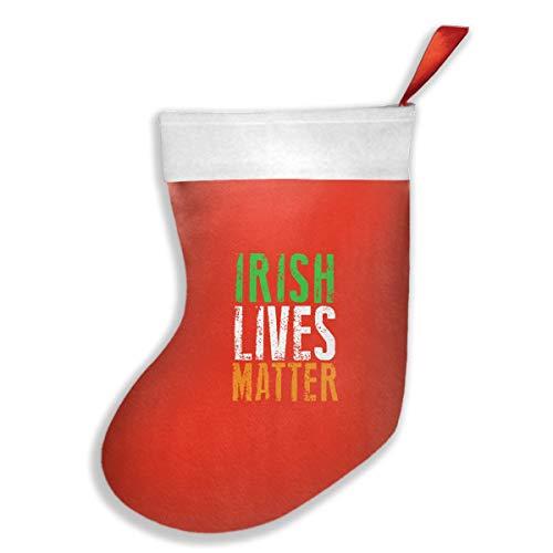 Irish Lives Matter Ireland Pride Flag Christmas Stocking, Kids Cute Santa Claus Stocking