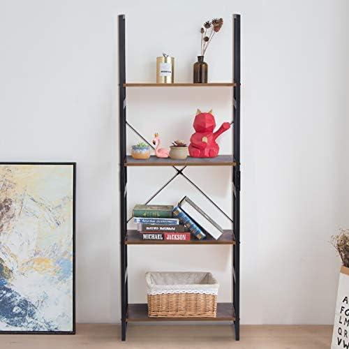 home, kitchen, furniture, home office furniture,  bookcases 6 picture KINGSO Industrial Ladder Shelf 4-Tier Shelves Bookshelf deals