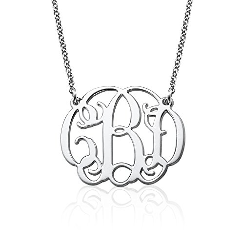 Fancy Monogram Necklace in 925 Sterling Silver - Customize this Pendant with your Initials (20) (Customize Items)