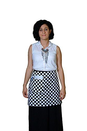 Waist Apron Unisex Half Waiter Waitress Restaurant Bistro Cafe Checkered Apron with one Front Pocket plus pencil pocket (15
