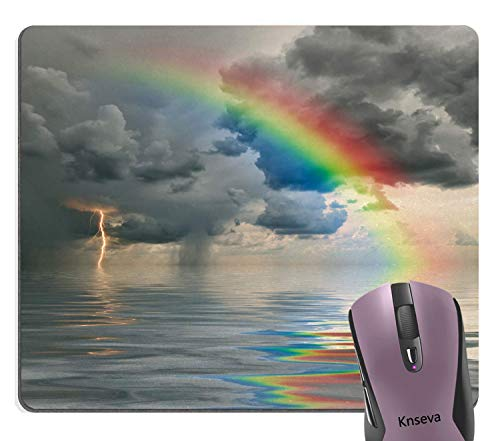 Knseva Spectacular Natural Scenery Mouse Pad, Cloudy Sky Calm Ocean Cool Lightning and Awesome Rainbow Mouse Pads for Computers