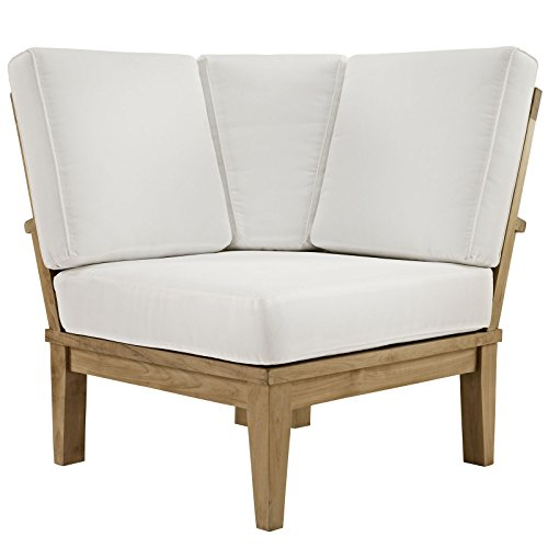 Modway Marina Teak Wood Outdoor Patio Sectional Sofa Corner Chair in Natural White