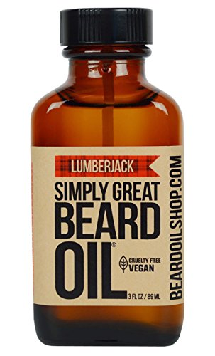 Simply Great Beard Oil – LUMBERJACK Scented Beard Oil – Beard Conditioner 3 Oz Easy Applicator – Natural – Vegan and Cruelty Free Care for Beards – America's Favorite