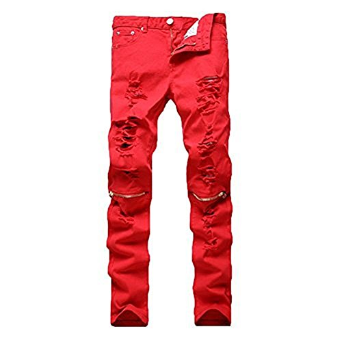 Leward Men's Ripped Skinny Distressed Destroyed Straight Fit Zipper Jeans with Holes No Belt (Red, 34)