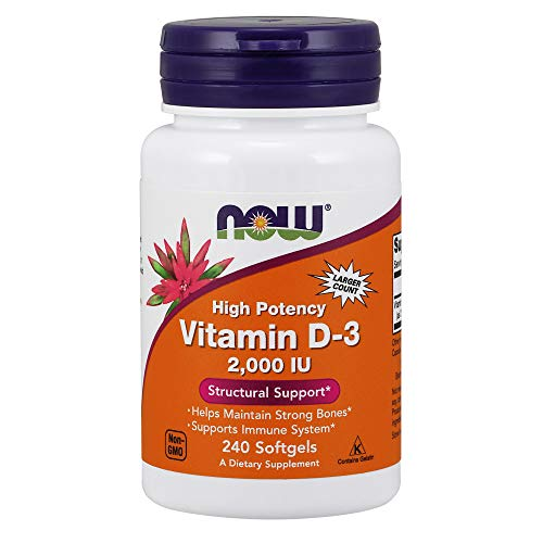 NOW Vitamin D-3, Structural Support 2000 I.U, 240 Softgels