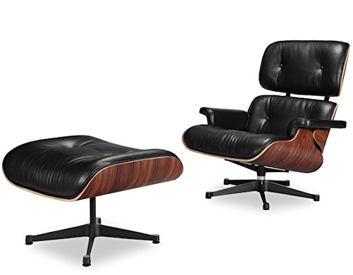Eames Lounge Stoel Replica.Eames Lounge Chair And Ottoman Black 100 Italian Genuine Full Grain Leather With Rosewood Palisander Wood Finish True To Original Design Eames