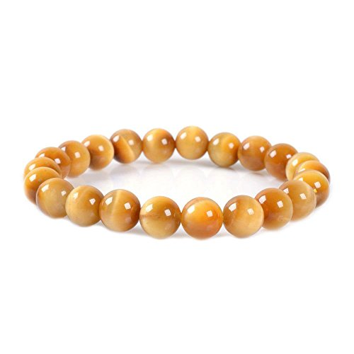 (AAA Yellow Gold Tiger's eye Gemstone 8mm Round Beads Stretch Bracelet 7