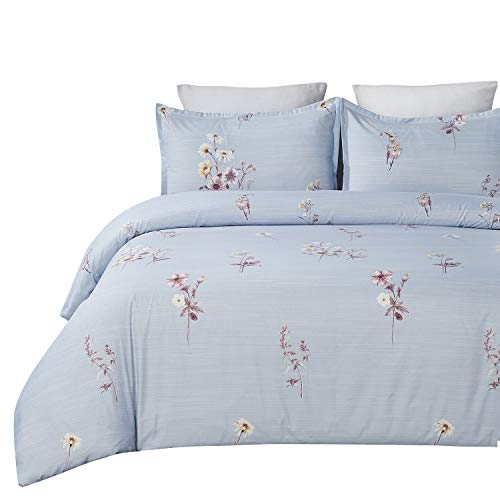 Vaulia Lightweight Microfiber Duvet Cover Set, Printed Floral Pattern, Blue - King Size