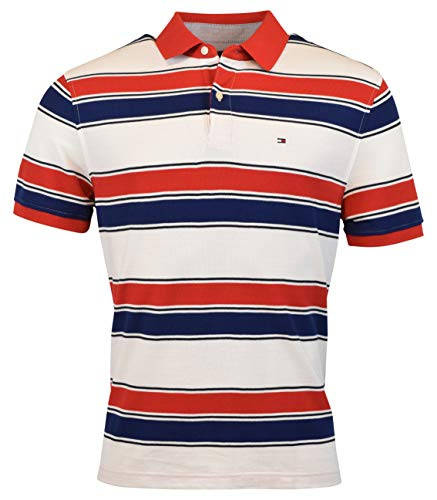 (Tommy Hilfiger Men's Regular Fit Performance Pique Cotton Polo Shirt - L - Red)