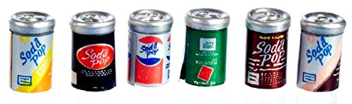 Dollhouse Miniature Set of 6 Tin Soda Pop Cans (Miniature Tin)