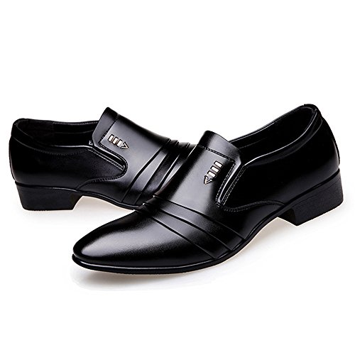 Seakee Men's Pointed-Toe Tuxedo Dress Shoes Casual Slip-On Loafer