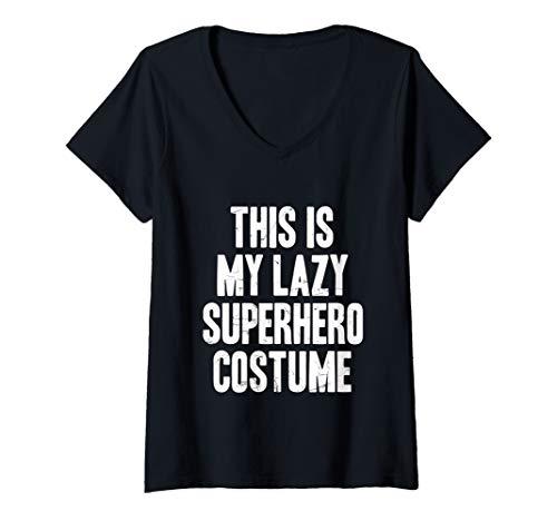 Womens This is my lazy Superhero costume halloween gift V-Neck T-Shirt -
