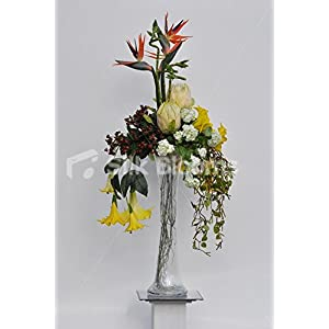 Tall Bird of Paradise Flower, Protea, Angel Trumpet and Snowball Floral Arrangement