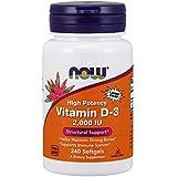NOW Vitamin D-3, Structural Support 2000 I.U, 240 Softgels
