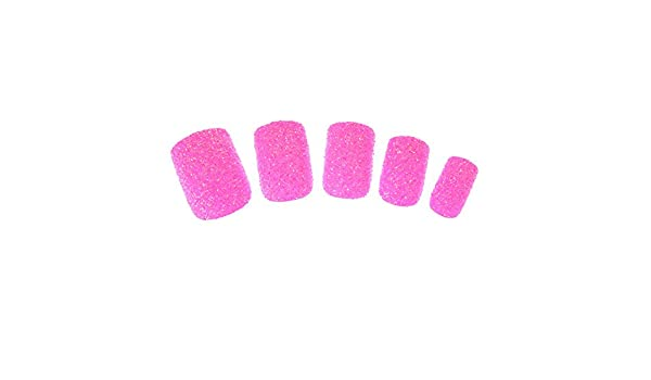 Claires-mujer-Lote De 24 De uñas, color rosa con lentejuelas, color rosa: Amazon.es: Belleza