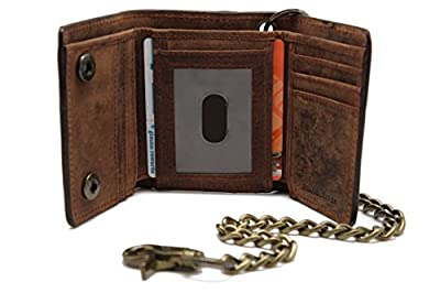 RFID Biker's Brown Leather Trifold Chain Wallet Rusty Crazy Horse Texture Motorcycle Trucker in Gift Box