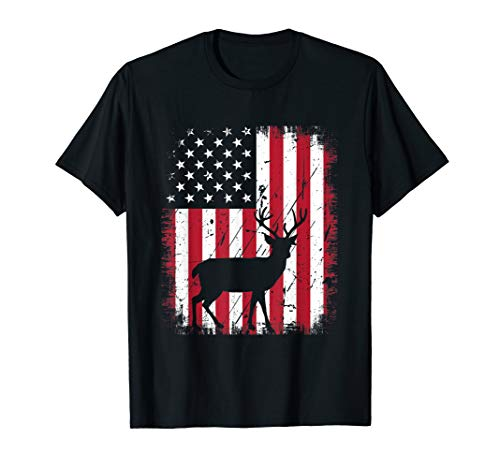 (Vintage Deer USA American Flag 4th Of July Patriotic Shirt)