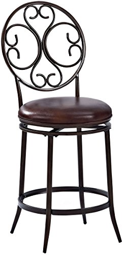 Crosley Furniture CF520426AB-BR Arbor Swivel Counter Stool, 26-inch, Aged Bronze with Brown Cushion