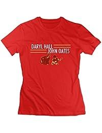 Womens Daryl Hall and John Oates Tour Slim Tennis Red T Shirt Short Sleeve