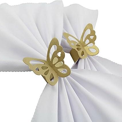 Ishine 50 Pezzi Di Carta Portatovagliolo Anello Tovagliolo Farfalla