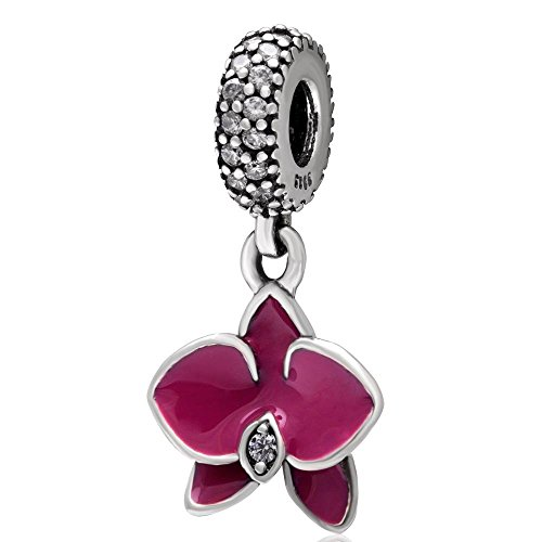 Flower Charm with Transparent Cz Stone and Fuschia Enamel 925 Sterling Silver Orchid Pendant Dangle Charm for Bracelet