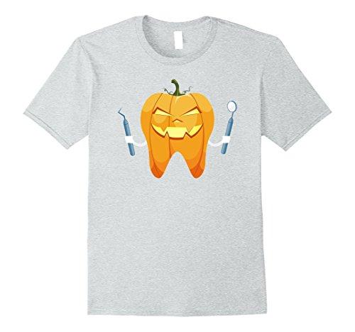 Mens Halloween Tooth Pumpkin Dentist Funny Gift T-Shirt XL Heather Grey