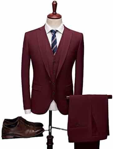 37f83ad54ac0 Men 3 Pieces Suit One Button Slim Fit Peak Lapel Business Suit Wedding Suit  Groom Tuxedo