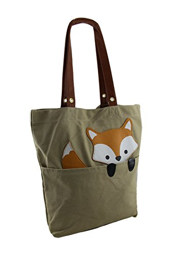 Critters Bags Cross Womens X Tote Fox Blend Canvas 12 X Body Cotton Beige 14 Peeking Inches 3 Bag Sleepyville xn5YEgBEqw