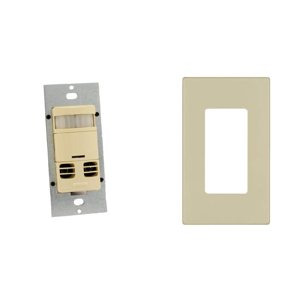 No Neutral ft ft Major /& 400 sq Multi-Technology Wall Switch Sensor 2400 sq Ivory with Screwless Wallplates Leviton OSSMT-GDI Ultrasonic//Infrared Minor Motion Coverage 2-Pack